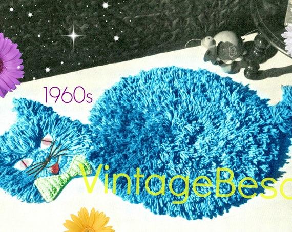 Cat Rug Crochet Pattern • 1960s Retro Pattern • Shag Crochet Pattern • Cat Crochet Pattern • Vintage Beso • VintageBeso • PDF Pattern