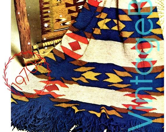 Navajo Afghan Knitting Pattern • Vintage 1970s Navajo Blanket • American Indigenous Indian Afghan • Vintage Beso • Watermarked PDF Only