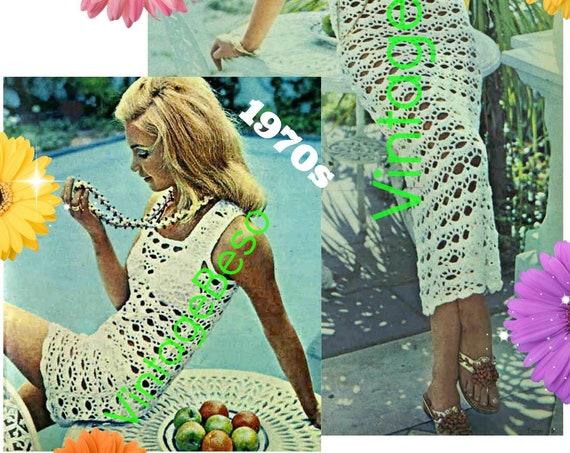 Sexy Dress Crochet Pattern • Patio Dress • Mini or Maxi Dress • Bikini Coverup • Beach Wedding • Vintage 1970s Ladies • Watermarked PDF Only