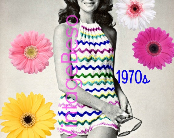 Romper CROCHET Pattern • Vintage 1970s Bodysuit Crochet Pattern • Halter Crochet Pattern • Bathing Suit • Retro Beach • Watermarked PDF Only