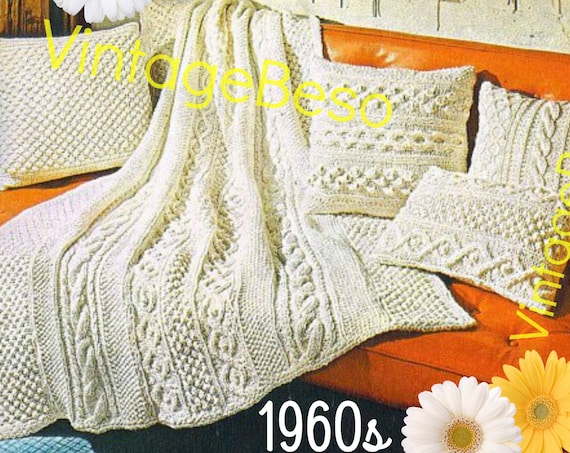 """5 Patterns • 1960s KNIT Pattern Aran Afghan Blanket + 4 Pillows: 49"""" X 65"""" blanket bed throw coverlet cover knitting • Watermarked PDF Only"""