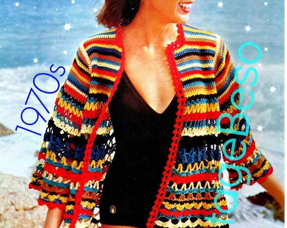Beach Jacket CROCHET Pattern • Vintage 70s Cover Up • Retro Summer Sweater • Striped ZigZag • Sexy Ladies Wear • Watermarked PDF Only