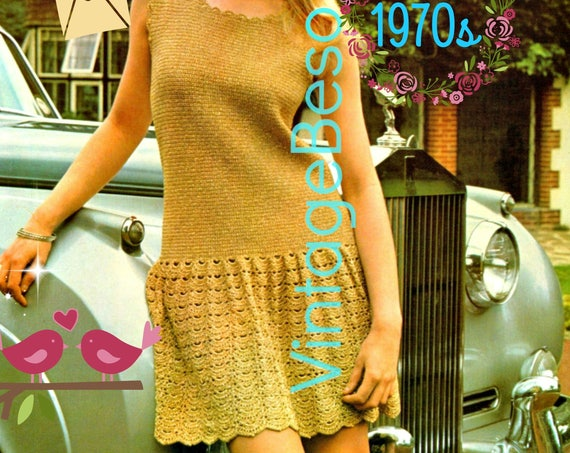 Dress Crochet Pattern • Vintage 1970s Party Dress • Lady in Gold • Cocktail Dress • Mini Dress • Mod Dress • Instant Download • PDF Pattern