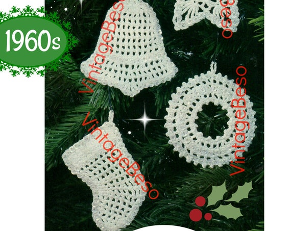 Instant Download • 5 Ornaments Crochet Pattern • Classic Christmas Crochet Pattern • Vintage 1960s • Snowflake Star Bell Wreath Stocking