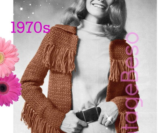 Jacket CROCHET Pattern 1970s • Faux Pho Leather Pattern Cowgirl Barrel Rider Fringed Jacket Buckskin Pelt • Watermarked PDF Only