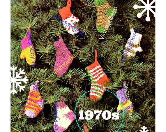 Instant Download • EASY Crochet • Tiny Sock and Mittens CROCHET Pattern • Christmas • Mini Holiday Tree Ornament • Gift Wrapping Decorations