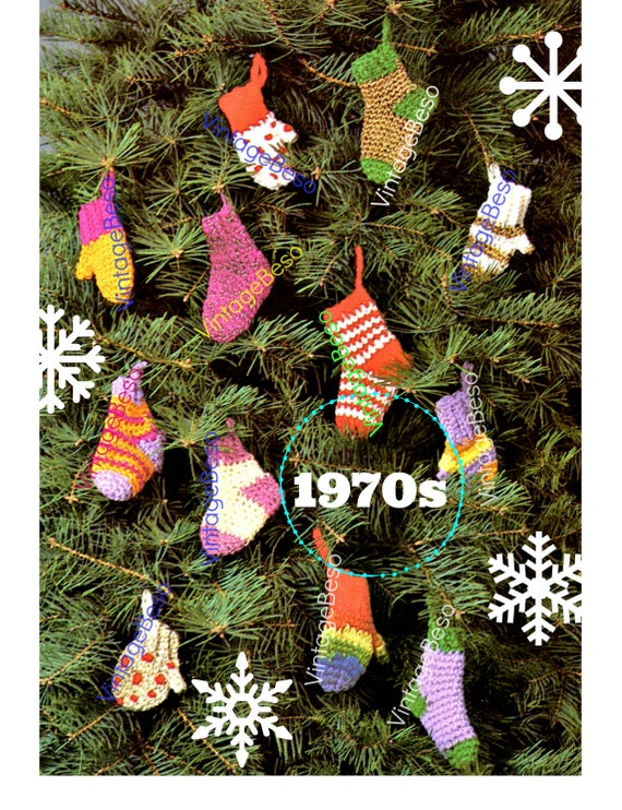 EASY Crochet • Tiny Sock and Mittens CROCHET Pattern • Classic Christmas • Mini Holiday Tree Ornament • Gift Wrapping Decorations Vintage