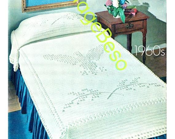 Eagle Bedspread CROCHET Pattern • Super Fun Popcorn Stitch Afghan • Retro 1960s Crochet • Patriotic Afghan • Bird • Watermarked PDF Only