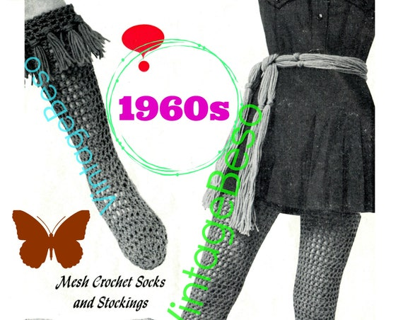 3 Crochet Patterns • Knee Socks Crochet Pattern + Stockings Crochet Pattern + Belt Crochet Pattern • 1960s • Watermarked PDF Only