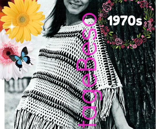 Poncho Crochet Pattern • Boho Poncho with Fringe • 1970s Vintage Poncho • Easy • Striped • Fun • Fast • Watermarked PDF Only