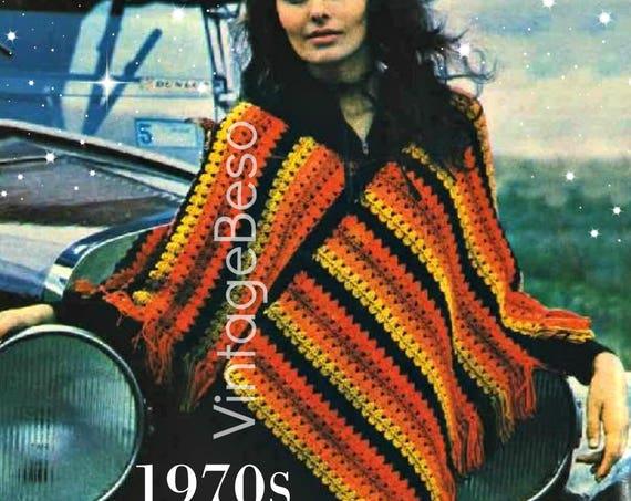 Digital Download • PdF Pattern • Striped PONCHO Crochet Pattern 1970s Fringe Boho Hippie • Vintage Crochet Pattern