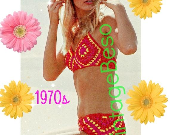 Bikini Crochet Pattern • Sexy 1970s Diamond Crochet Bikini Pattern • Vintage Bikini • Swimwear • Sexy Fun Boho Chic • Watermarked PDF Only