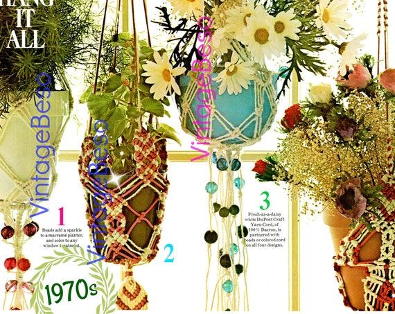 4 Patterns • Plant Hanger Macrame Pattern • Bohemian Home Decor • Vintage Macramé  1970s Planters Print Diagrams • Watermarked PDF Only