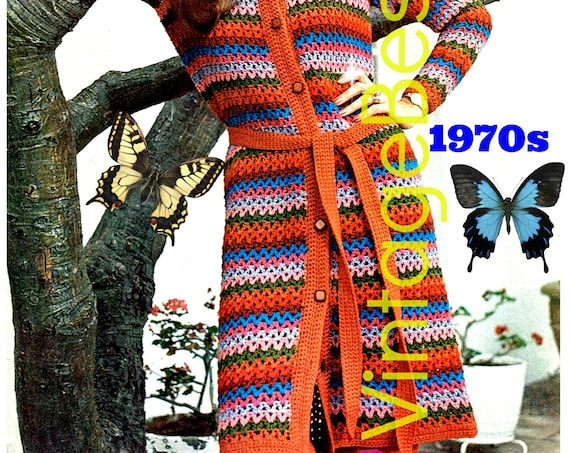 Long Cardigan CROCHET Pattern • Vintage 1970s Jacket • Coat • Retro • Long Sleeve Sweater • Boho • Hippie • Watermarked PDF Only