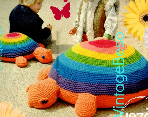 Instant Download PDF • EASY Turtle Crochet Pattern • Crochet Tortoise Large Pillow Floor Cushion Bean Bag Pouffe Playgroup Nursery Soft Play
