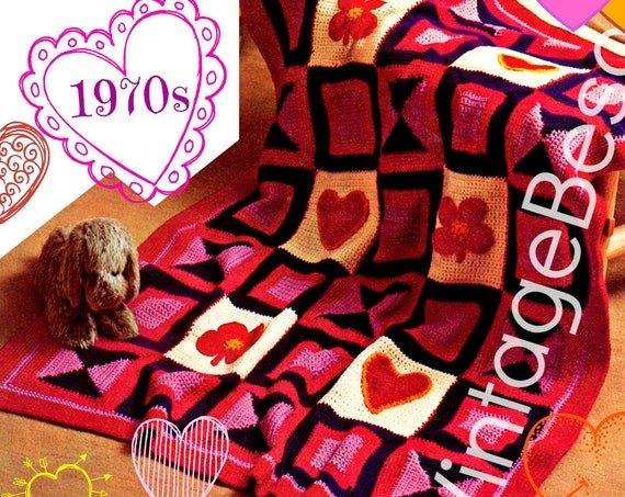 """Afghan Crochet Pattern • Vintage 1970s Crochet Pattern • Colorful Hearts Flowers • 40"""" x 52"""" • Watermarked PDF Only"""