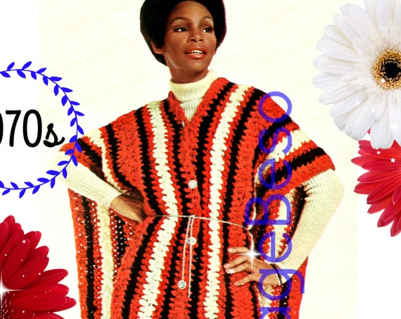 Poncho CROCHET Pattern with Free Gift • PDF Pattern • Vtg 1970s Simple Quick Crochet Poncho Pattern Ladies Lightweight Hippie Boho Chic
