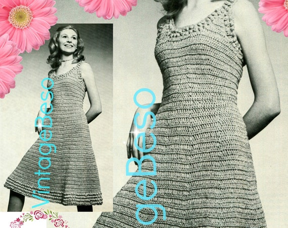 Dress Crochet Pattern • Skimmer Dress • Vintage 1970s • Retro Scoop Neck Skimmer with Easy Flared Skirt • Watermarked PDF Only