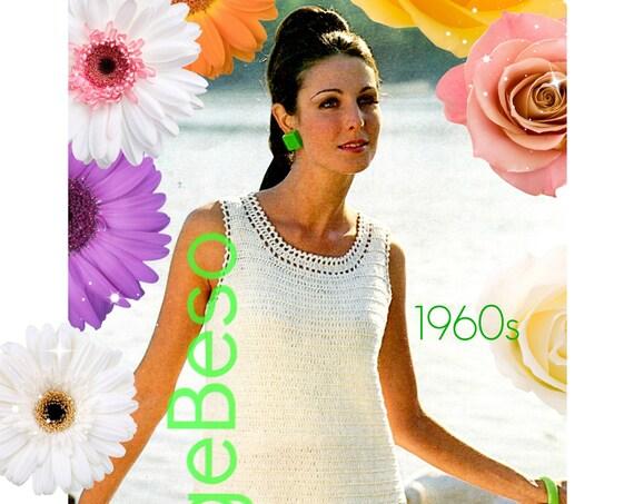 Instant Download • PDF Pattern • DRESS CROCHET Pattern Retro 1960s Mod Dress Pattern • Ladies Summer wear Party Dress Women • Wedding Dress
