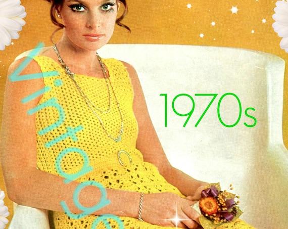 Dress Crochet Pattern • Instant Download • Vintage 1970s Sexy Summer Dress Cover Up Crochet Pattern • Retro Crochet Pattern • PDF Pattern