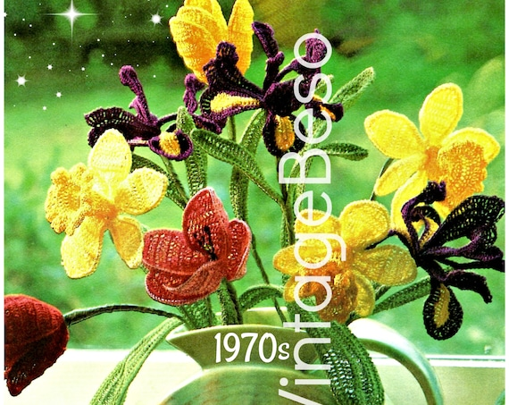 Flower Crochet Pattern Vintage 70s Bouquet Vase of Flowers Wired Corsage Tulip Daffodil Iris Petals Leaves • Watermarked PDF Only