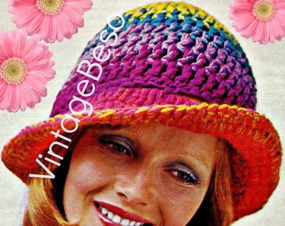 Hat Crochet Pattern • Vintage 1970s Rainbow Hat • Folk  • Roaring Twenties • Brim Hat • Instant Download • PDF Pattern • Digital Pattern