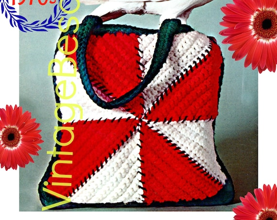 Bag Crochet Pattern • Instant Download • PDF Pattern •  Vintage 1970s • Square Bag Crochet Pattern • Satchel • Retro Tote
