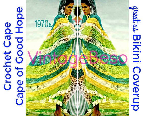 Hooded Cape Crochet Pattern • 1970s Hooded Cape Crochet Pattern Cape of Good Hope Cover Up Crochet Clothing • Watermarked PDF Only