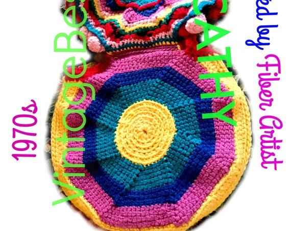 Purse Crochet Pattern • Vintage 1970s Bohemian Bag Crochet Pattern • RARE 70s Original Boho Bag • Hard to Find Purse • Watermarked PDF Only