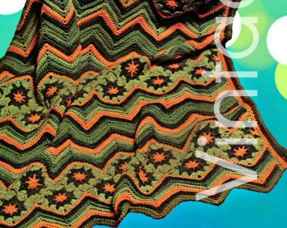 "Ripple Afghan • Instant Download • Vintage CROCHET Pattern • 1970s Zig Zag Pattern abt 48 x 72"" Chevron Bohemian Crochet PDF Pattern Star"