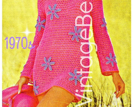 EASY CROCHET • Beach Dress Crochet Pattern • Instant Download • PDF Pattern • 1970s Crochet Dress • Ladies Dress • Summer Wear Flower