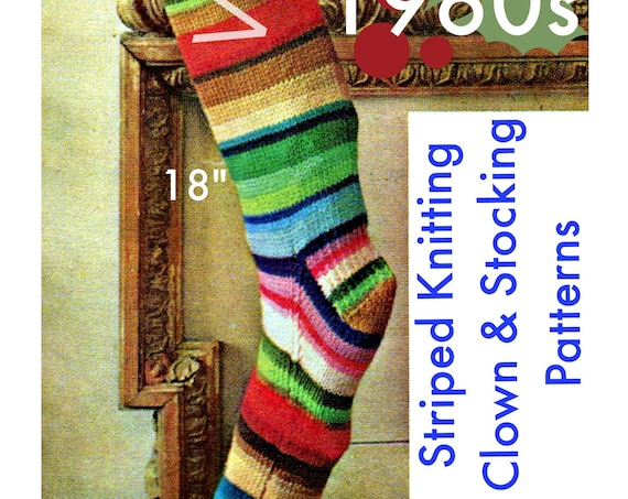 Instant Download • 2 KNITTING Patterns • 1960s Vintage Christmas Stocking Knitting Pattern + Retro Clown Toy Knitting Pattern • PDF Pattern