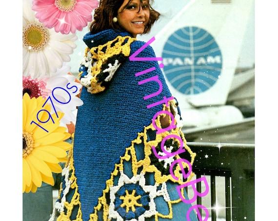 Hooded Shawl Crochet Pattern Vintage 1970s Hooded Irish Lace • Instant Download • PDF Pattern • Crochet Feminine Hood Cape Like Pattern