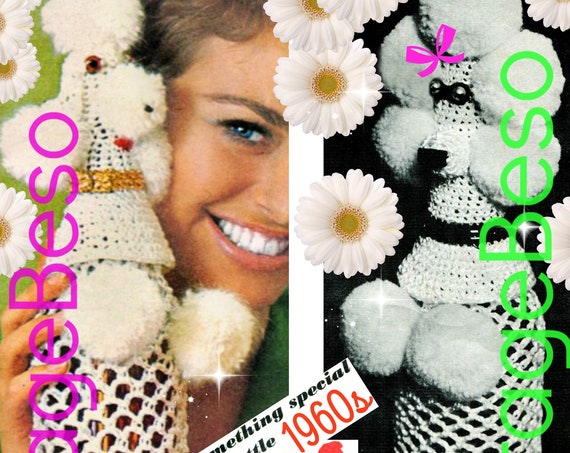Poodle Bottle Cover CROCHET Pattern • Vintage 1960s Pierre the Poodle • Poodle Bottle Cover • near Mad Men era • Instant Download • PDF