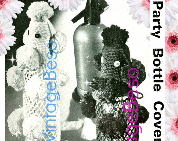 LIQUOR Bottle Cover • Poodle CROCHET Pattern • 1970s Vintage Party Gift • Hostess Gift • Dog Crochet Pattern • Cigarettes Case Free Gift