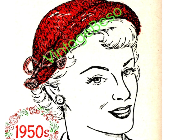 Hat Crochet Pattern • Vintage 1950s Crochet Pattern • Rolled Brim Hat Cap Pattern • 1950s Housewife Mad Men • Watermarked PDF Only