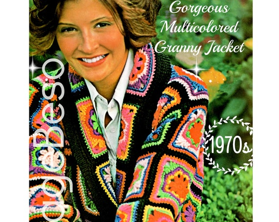 Instant Download • PDF Pattern • Jacket Crochet Pattern 1970s S• uper Granny Square Flower Coat Chic Colorful Coat • Vintage Crochet Pattern