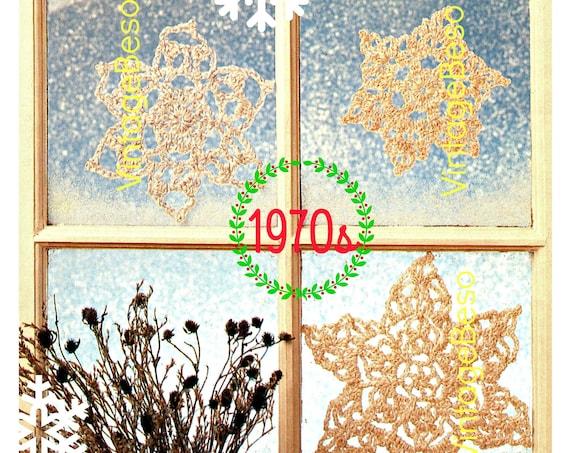 3 Snowflake CROCHET Pattern • Vintage 1970s Crochet Pattern • Christmas Pattern • INSTANT DOWNlOAD • PDF Pattern • Digital Download