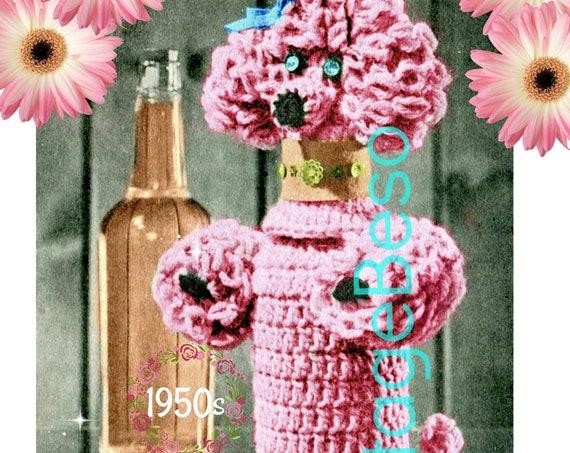 Poodle Bottle Cover CROCHET Pattern • Vintage 1950s RARE • Hard to Find Poodle Unique Party Gift • Mad Men era • Valentine's Day • PDF Only