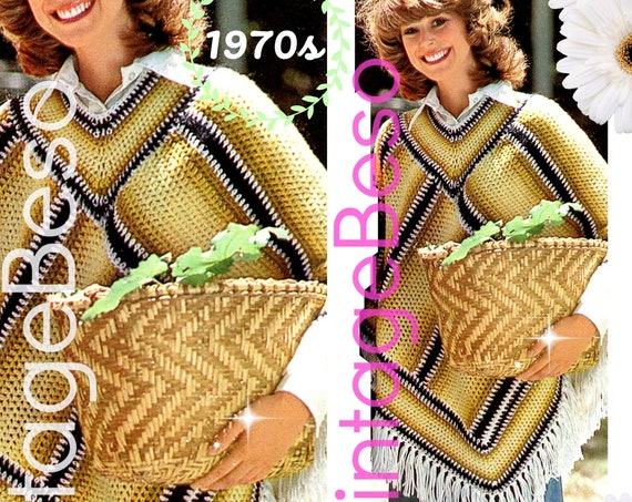 Poncho CROCHET Pattern • 1970s Vintage Pattern • Digital Download • PDF Pattern • Gold Stripe Poncho • USA Crochet Pattern • Poncho w Fringe