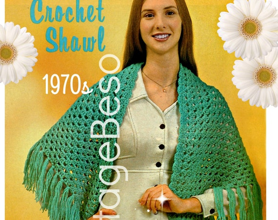 87f215957a ... for Hospitality $1.05 Easy Shawl CROCHET Pattern • Vintage 1970s Simple  Shells Shawl • Instant Download • PDF Pattern