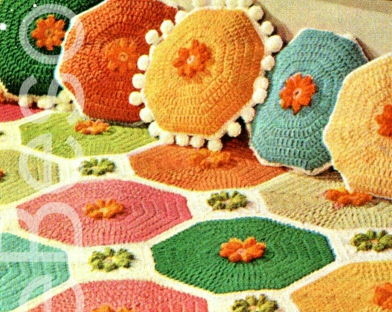 Afghan Crochet Pattern • Vintage 1970s Colorful Octagon Afghan Pattern + Geometrical Shape Pillows Pompoms • Watermarked PDF Only