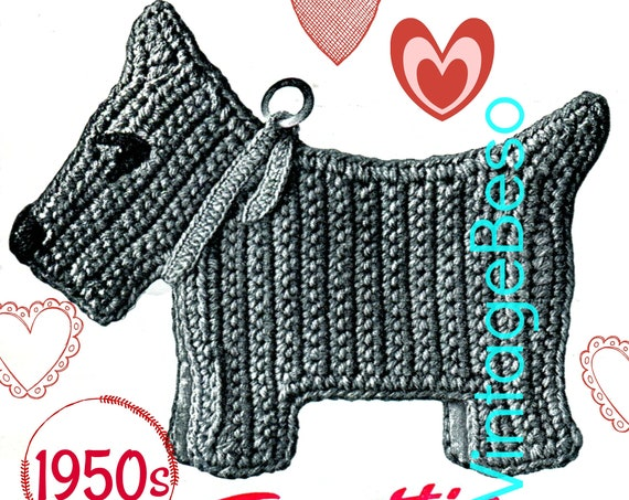 Dog Potholder CROCHET Pattern • Vintage 1950s • Retro Potholder Scottie • Dog Housewarming Gift • New Puppy Potholder • Watermarked PDF Only