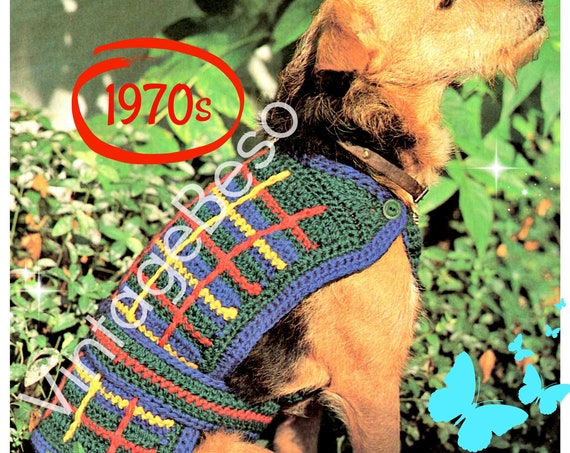 Coat Crochet Pattern • Vintage 1970s Plaid Dog Jacket pattern • dog sweater crochet pattern VintageBeso • Watermarked PDF Only