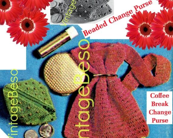 "2 Crochet Pattern • ""Coffee Break"" Change Purse • Beaded Change Purse • 1960s Vintage Bag • PDF Pattern • Retro Fun"
