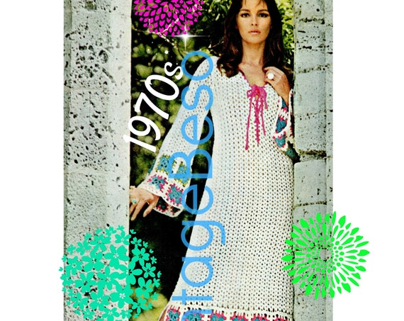 Maxi Dress CROCHET Pattern • Ladies Guinevere Gown • PdF Pattern • Romantic and Medieval Dress Crochet Digital Pattern • Vintage 1970s
