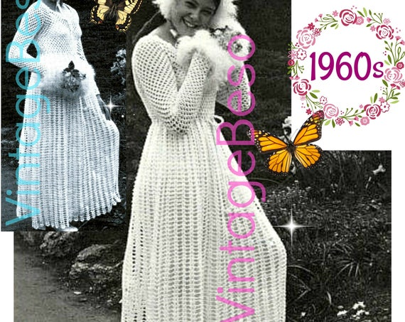 Wedding Dress Crochet PATTERN • Vintage Maxi Dress • Crochet Mother and Daughter • Free Pattern 70s VintageBeso Instant Download PDF Pattern