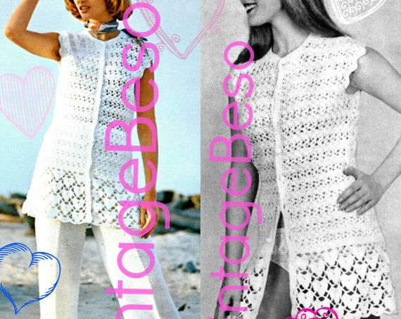 Heart CROCHET Pattern creates Tunic Coverup for Swimsuit + Trouser Suit • Retro 1970s • PDF • Vintage Valentine's Day • Digital Pattern