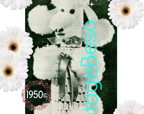 Poodle Bottle Cover CROCHET Pattern • Vintage 1950s RARE • Hard to Find Poodle • Dog Crochet Pattern • Mad Men era • Watermarked PDF Only