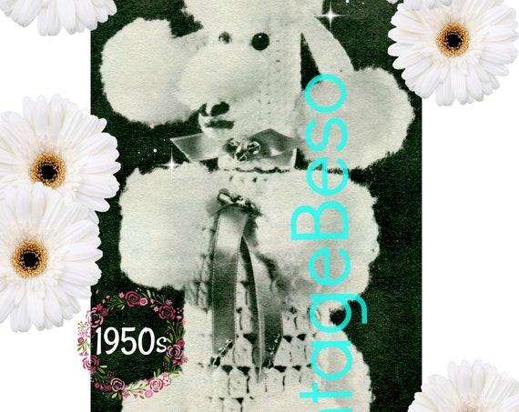 Poodle Bottle Cover CROCHET Pattern • Vintage 1950s RARE • Hard to Find Poodle • Dog Crochet Pattern • Mad Men era • Watermarked PDF Only